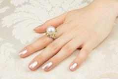 Ella Gafter Ella Gafter South Sea Pearl Yellow Sapphire Diamond Cocktail Ring - 1113844