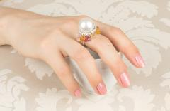 Ella Gafter Ella Gafter South Sea Pearl and Diamond Cocktail Ring with Sapphire - 1113904