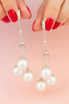Ella Gafter Ella Gafter South Sea Pearl and Diamond Drop Earrings - 1194498