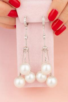 Ella Gafter Ella Gafter South Sea Pearl and Diamond Drop Earrings - 1194499