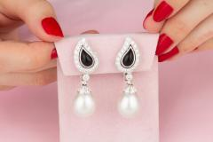 Ella Gafter Ella Gafter South Sea Pearl and Diamond Drop Earrings White Gold Onyx - 1187607