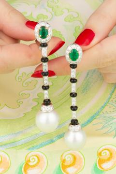 Ella Gafter Ella Gafter South Sea Pearl and Diamond Emerald Drop Earrings with Onyx - 1008757