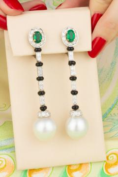 Ella Gafter Ella Gafter South Sea Pearl and Diamond Emerald Drop Earrings with Onyx - 1008759