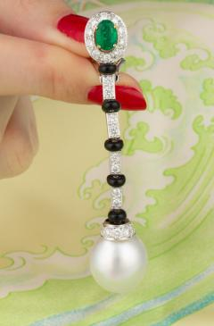Ella Gafter Ella Gafter South Sea Pearl and Diamond Emerald Drop Earrings with Onyx - 1008767