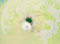 Ella Gafter Ella Gafter South Sea Pearl and Diamond Spider Brooch Pin - 1046577