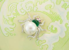 Ella Gafter Ella Gafter South Sea Pearl and Diamond Spider Brooch Pin - 1046580