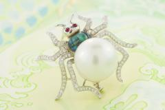 Ella Gafter Ella Gafter South Sea Pearl and Diamond Spider Brooch Pin - 1051545