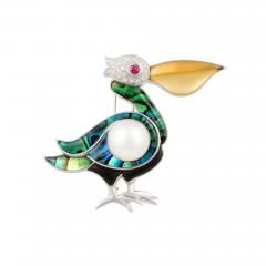 Ella Gafter Ella Gafter White Pearl and Diamond Pelican Brooch Pin - 1045075