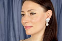 Ella Gafter Ella Gafter White South Sea Pearl Diamond Drop Earrings - 1169792