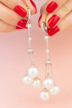 Ella Gafter Ella Gafter White South Sea Pearl and Diamond Drop Earrings - 1176140