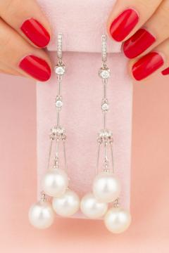 Ella Gafter Ella Gafter White South Sea Pearl and Diamond Drop Earrings - 1176141