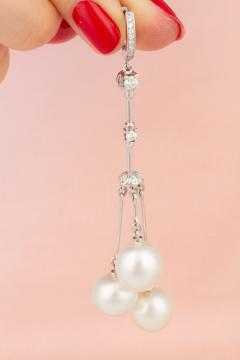Ella Gafter Ella Gafter White South Sea Pearl and Diamond Drop Earrings - 1176143