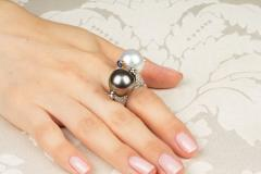 Ella Gafter Ella Gafter White South Sea Pearl and Diamond Ring Rose Gold - 1097682