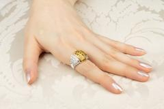 Ella Gafter Ella Gafter Yellow Sapphire and Diamond Cocktail Ring - 1097260