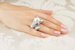 Ella Gafter Ella Gafter Zodiac Capricorn Ring with Diamonds and Pearl - 1021291