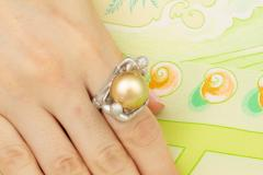Ella Gafter Ella Gafter Zodiac Gemini Ring with Golden Pearl and Diamonds - 1014534
