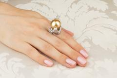 Ella Gafter Ella Gafter Zodiac Gemini Ring with Golden Pearl and Diamonds - 1014535