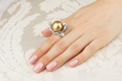 Ella Gafter Ella Gafter Zodiac Gemini Ring with Golden Pearl and Diamonds - 1014536