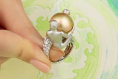 Ella Gafter Ella Gafter Zodiac Gemini Ring with Golden Pearl and Diamonds - 1014537