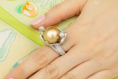 Ella Gafter Ella Gafter Zodiac Gemini Ring with Golden Pearl and Diamonds - 1014538