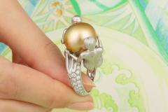 Ella Gafter Ella Gafter Zodiac Gemini Ring with Golden Pearl and Diamonds - 1014543