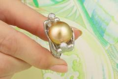 Ella Gafter Ella Gafter Zodiac Gemini Ring with Golden Pearl and Diamonds - 1014544