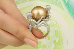 Ella Gafter Ella Gafter Zodiac Gemini Ring with Golden Pearl and Diamonds - 1014545