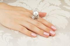 Ella Gafter Ella Gafter Zodiac Gemini Ring with South Sea Pearl and Diamonds - 1014585