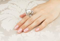 Ella Gafter Ella Gafter Zodiac Gemini Ring with South Sea Pearl and Diamonds - 1014587