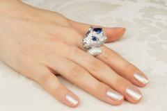 Ella Gafter Ella Gafter Zodiac Leo Ring with Blue Sapphire and Diamonds - 1021704
