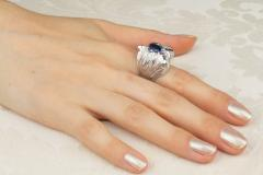 Ella Gafter Ella Gafter Zodiac Leo Ring with Blue Sapphire and Diamonds - 1021707