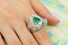 Ella Gafter Ella Gafter Zodiac Leo Ring with Emerald and Diamonds - 1021306