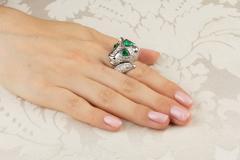 Ella Gafter Ella Gafter Zodiac Leo Ring with Emerald and Diamonds - 1021307