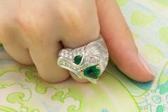 Ella Gafter Ella Gafter Zodiac Leo Ring with Emerald and Diamonds - 1021313