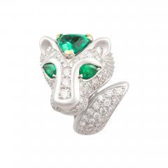 Ella Gafter Ella Gafter Zodiac Leo Ring with Emerald and Diamonds - 1029877