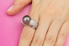 Ella Gafter Ella Gafter Zodiac Pisces Ring with Tahitian Pearl and Diamonds - 1021656