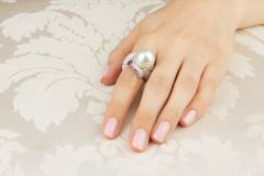 Ella Gafter Ella Gafter Zodiac Sagittarius Ring with South Sea Pearl and Diamonds - 1021502