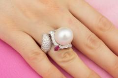 Ella Gafter Ella Gafter Zodiac Sagittarius Ring with South Sea Pearl and Diamonds - 1021503