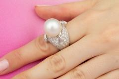 Ella Gafter Ella Gafter Zodiac Sagittarius Ring with South Sea Pearl and Diamonds - 1021504