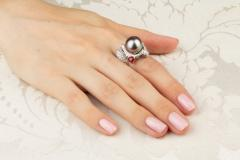 Ella Gafter Ella Gafter Zodiac Sagittarius Ring with Tahitian Pearl and Diamonds - 1021446