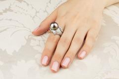 Ella Gafter Ella Gafter Zodiac Sagittarius Ring with Tahitian Pearl and Diamonds - 1021447