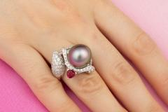 Ella Gafter Ella Gafter Zodiac Sagittarius Ring with Tahitian Pearl and Diamonds - 1021451