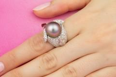 Ella Gafter Ella Gafter Zodiac Sagittarius Ring with Tahitian Pearl and Diamonds - 1021452