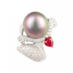 Ella Gafter Ella Gafter Zodiac Sagittarius Ring with Tahitian Pearl and Diamonds - 1029880