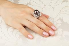 Ella Gafter Ella Gafter Zodiac Scorpio Ring with Diamonds and Tahitian Pearl - 1021427