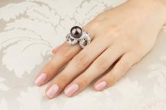 Ella Gafter Ella Gafter Zodiac Scorpio Ring with Diamonds and Tahitian Pearl - 1021428