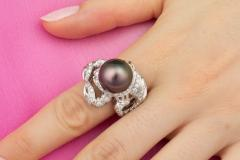 Ella Gafter Ella Gafter Zodiac Scorpio Ring with Diamonds and Tahitian Pearl - 1021429
