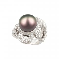 Ella Gafter Ella Gafter Zodiac Scorpio Ring with Diamonds and Tahitian Pearl - 1029879