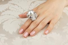 Ella Gafter Ella Gafter Zodiac Taurus Ring with Diamonds and Pearl - 1014444