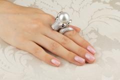 Ella Gafter Ella Gafter Zodiac Taurus Ring with Diamonds and Pearl - 1014446